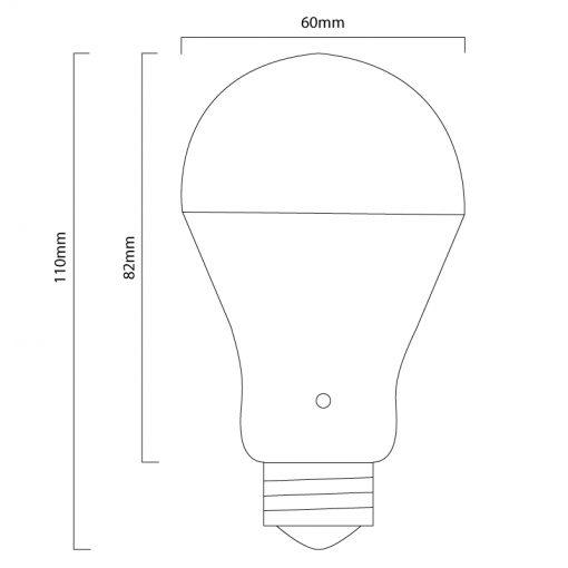 9w LED Bulb Line Drawing