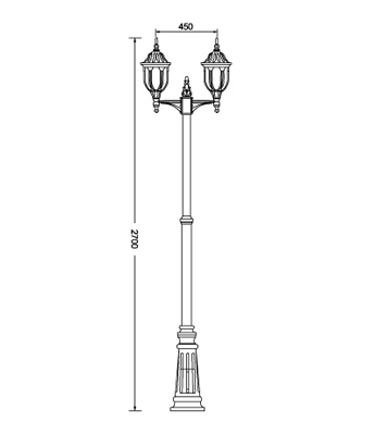 Amphora traditional double lamp post light adjustable height twin lamp post dimensions aloadofball Gallery