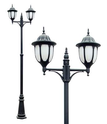Amphora Black and White Twin Lamp Post