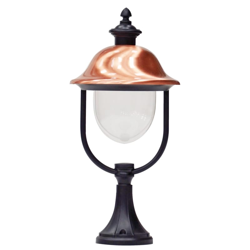 adriana pedestal light traditional copper gate post light