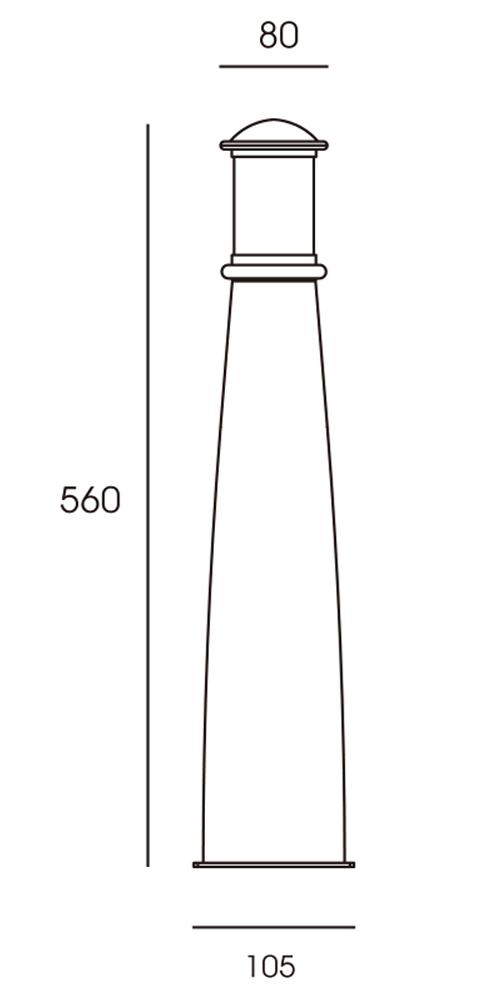 Beacon Brass Bollard Line Drawing
