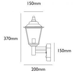 Classica PIR Wall Light Dimensions - Line Drawing