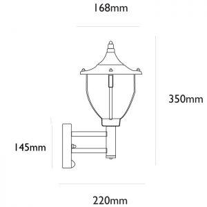 Centurian PIR Wall Light Dimensions