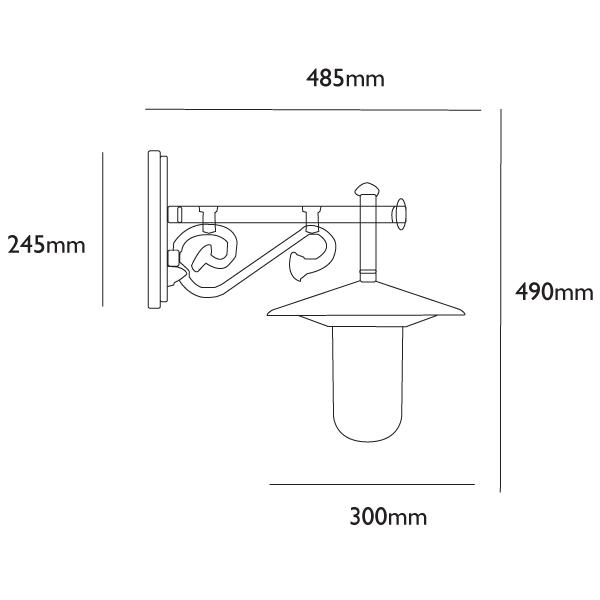 Darlington Traditional Wall Lantern Dimensions
