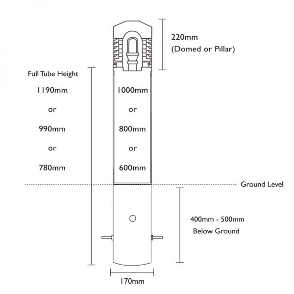 In Ground Root Mount Drawing for Fortress Bollards