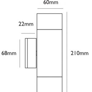 Hilospot Up and Down Wall Light Line Drawing