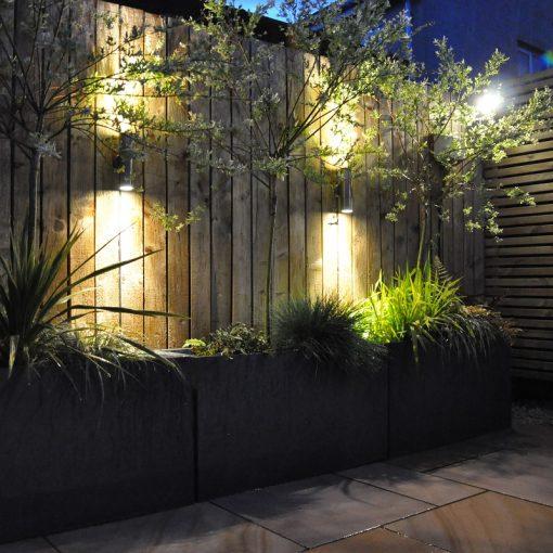 UP and Down Wall Light 12v Titanium illuminated patio