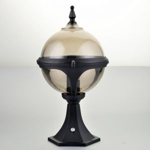 Globe Pedestal Mystic 'Smoke' Globe Pedestal Light with Photocell (Dusk to Dawn Sensor)