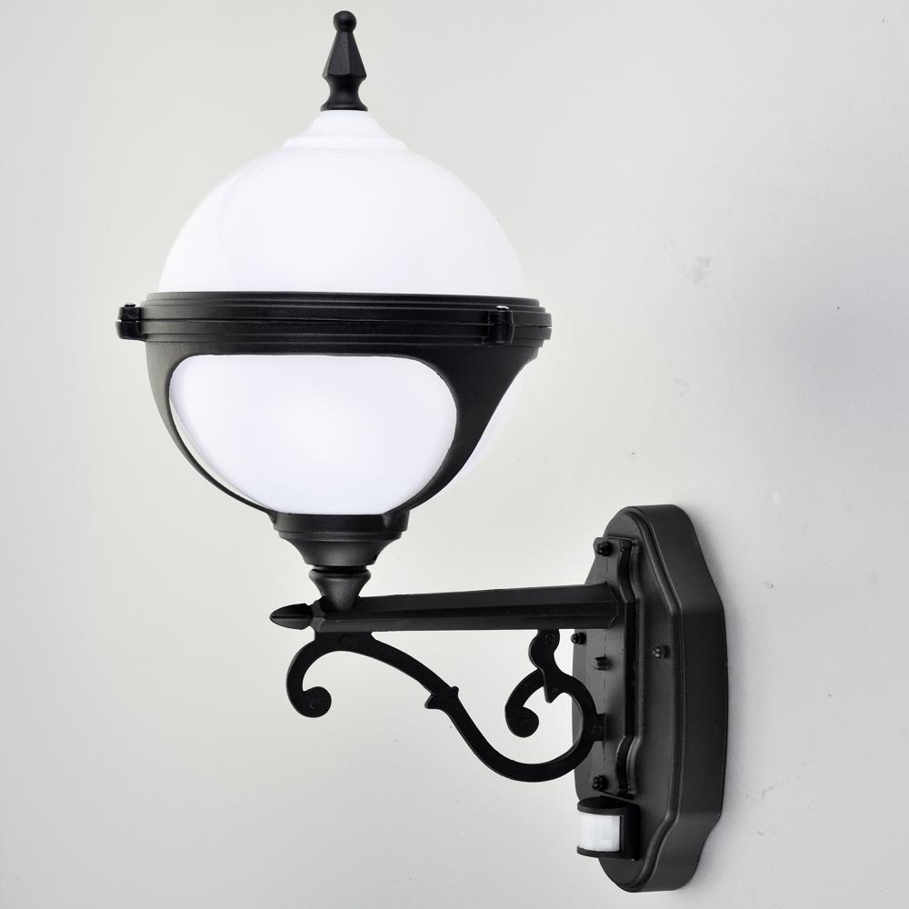 Mystic White Globe Wall Light with PIR Motion Sensor LED Security Light Lumena