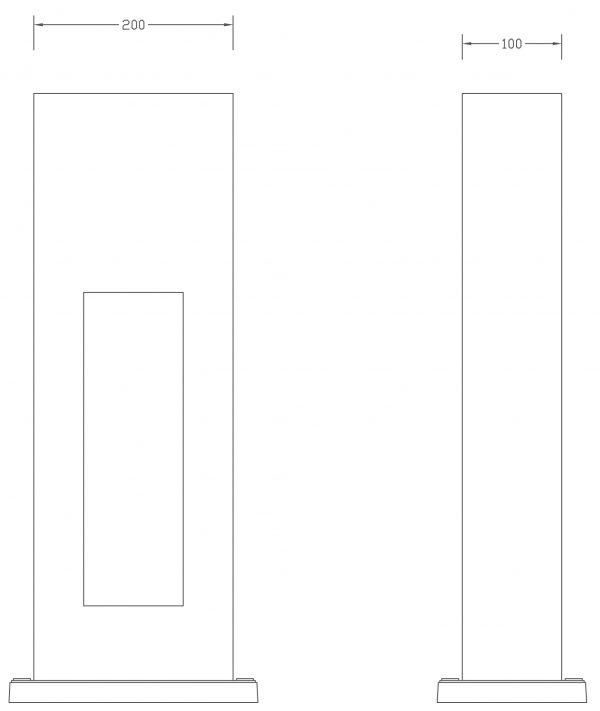 Line Drawing - Obelisk Dimensions