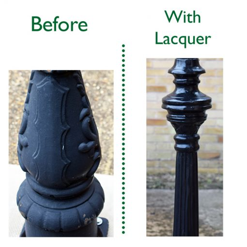 Before and After Lacquer Photo - Lamp Posts