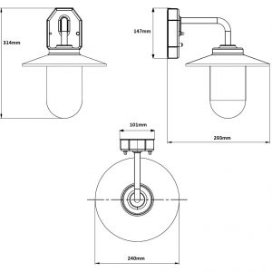Modena Photocell Wall Light Dimensions