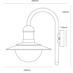 Stainless Steel Down Light Line Drawing