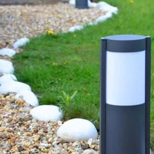 Ovus 650mm Illuminated Bollards In Situ - Dark Grey