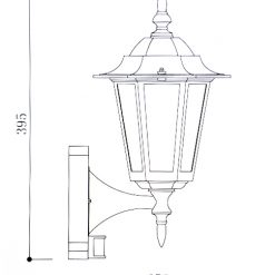Regent Wall Light with PIR Line Drawing