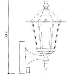 Regent Wall Light with PIR Line Drawing