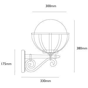 Saturn Globe Wall Light Dimensions