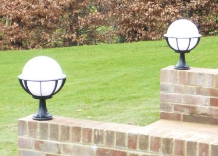 Black And White Outdoor Globe Lights In Situ