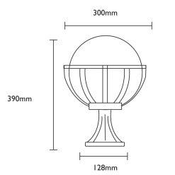 Saturn Pedestal Light Dimensions