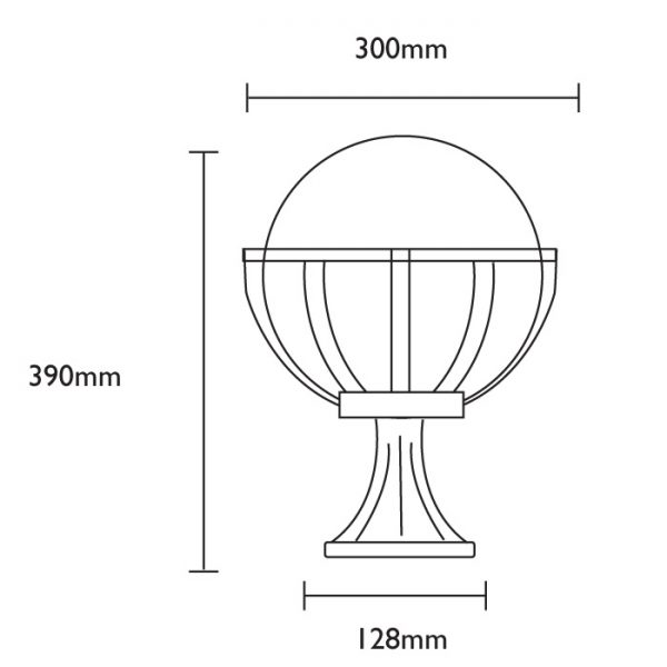 Saturn Pedestal Light Dimensions