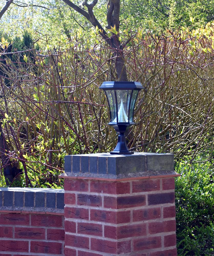 Chateau Pedestal Lantern Nickel: Pro Solar Garden Lights