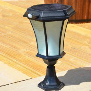 Solamon Solar Pedestal Light with PIR in use