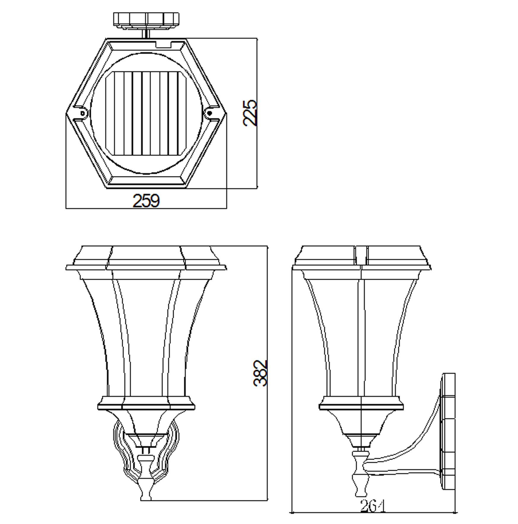 Solamon Wall Light Line Drawing Side
