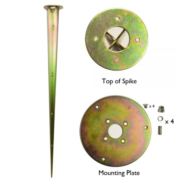 Tectona Wooden Post Light Ground Spike Kit