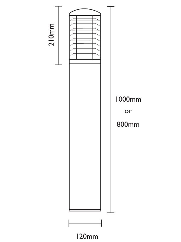 Stelled Stainless Steel Bollard Dimensions