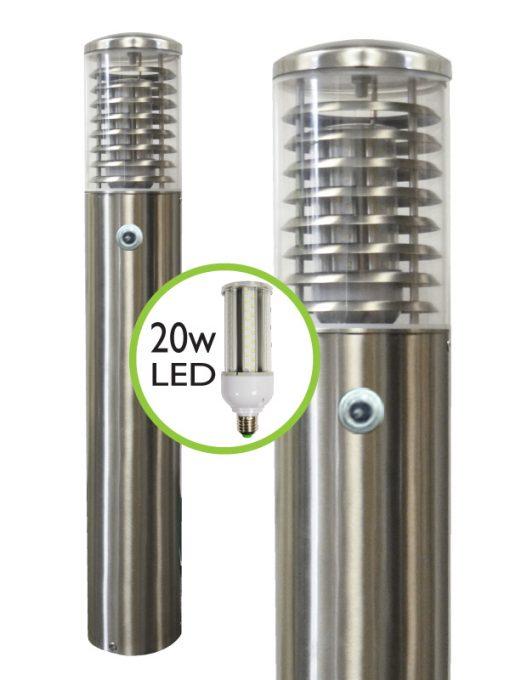 Stelled Commercial LED Dusk to Dawn (Photocell) Bollard Light - 0.8m or 1m - Marine Grade Stainless Steel 316