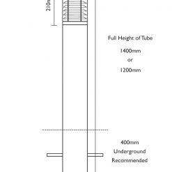 Stelled Bollard - Root Mount Line Drawing