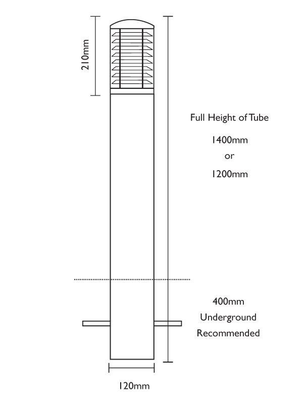 Stelled Bollard - Root Mount Line Drawing