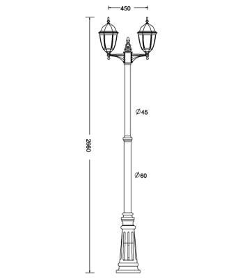 Turpin double lamp post traditional lamp post light lamp post turpin duuble lamp post dimensions line drawing mozeypictures Choice Image