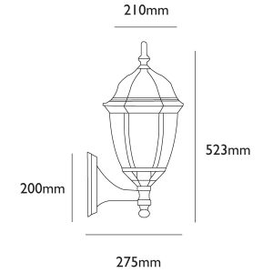 Turpin Outdoor Wall Light Dimensions - Line Drawing