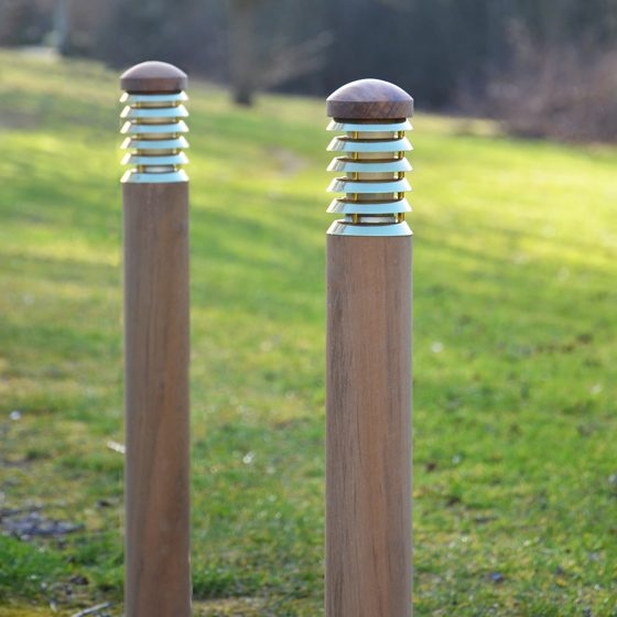 Tectona Bollard - Teak and Brass