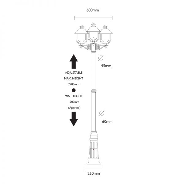 Adriana Triple Lamp Post Dimensions
