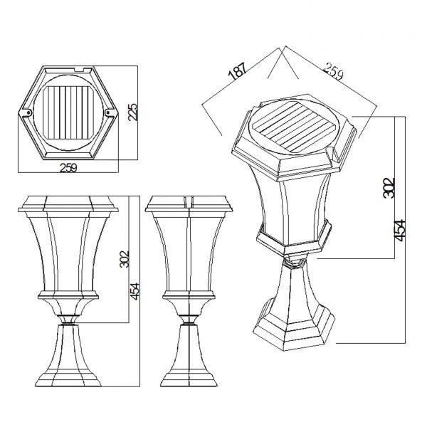 solar pedestal line drawing