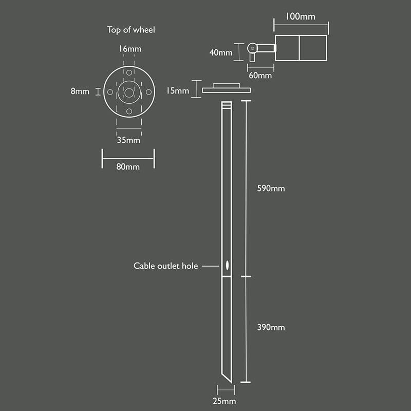 Ultra Spikelight 360 Line Drawing 12v S.Steel