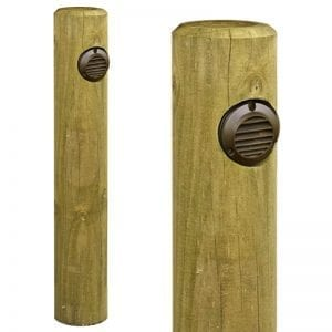 Timber Path Light - Pine Post Bollard with 240v Slatlite