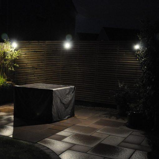 Smartspot Titanium Adjustable Spot Light in situ illuminated patio