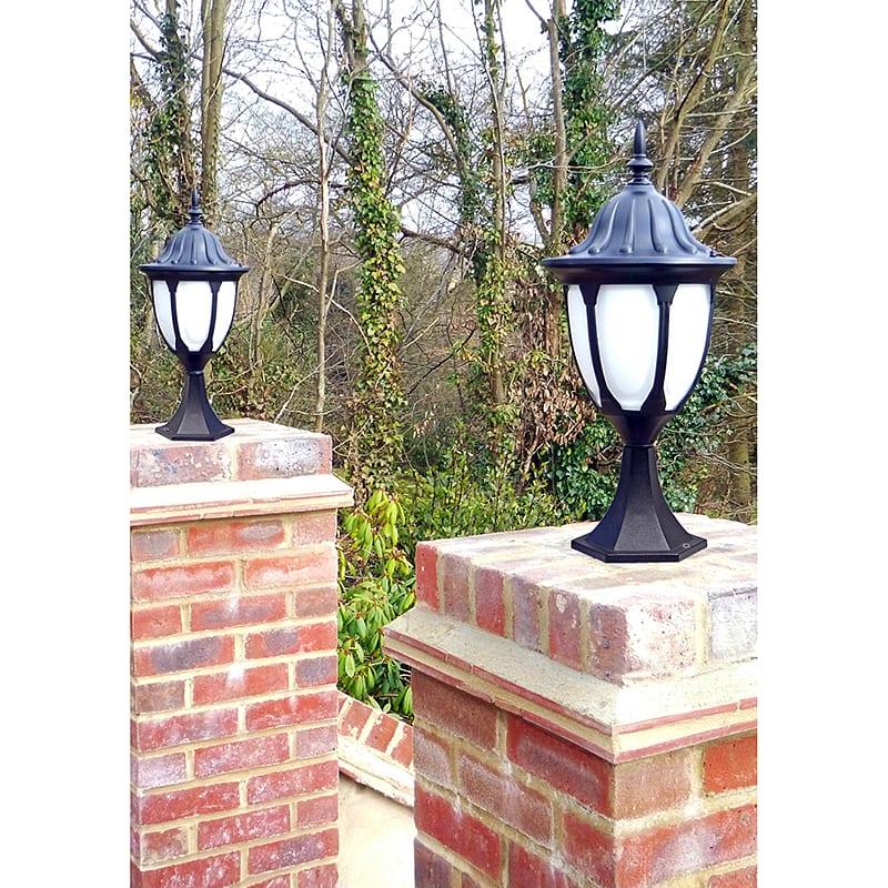 Welhome Bollard Light Garden Pedestal Led Solar Lamps: Amphora Pedestal Lantern