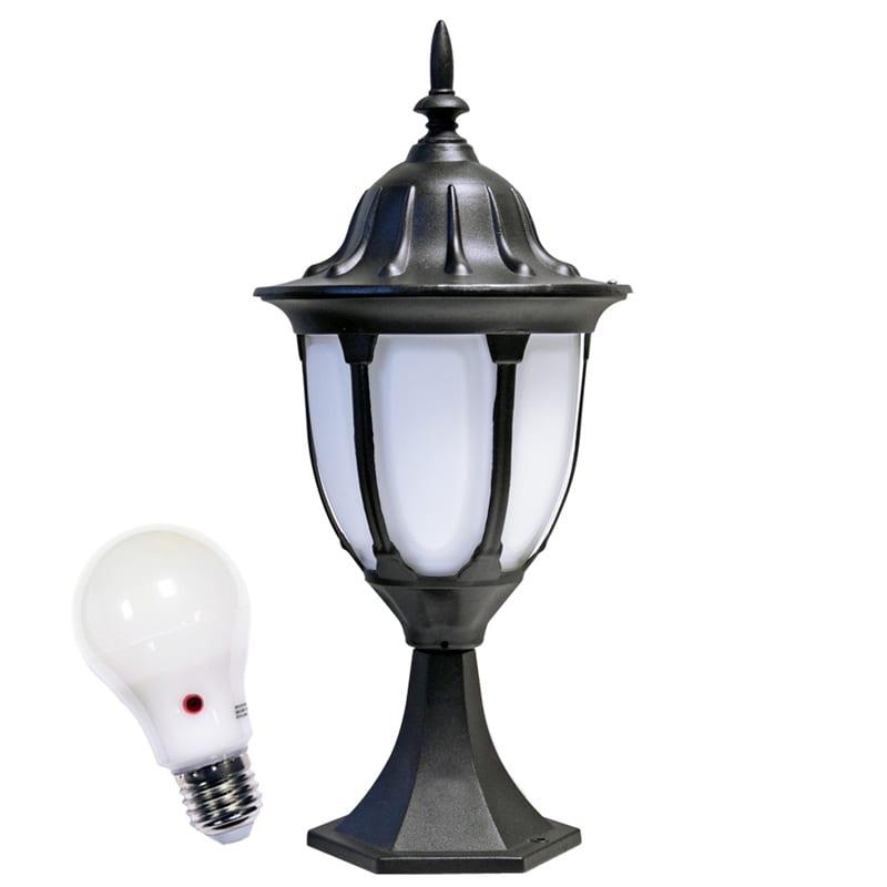 Warwick Pedestal Lantern Light Black: Amphora Pedestal Lantern