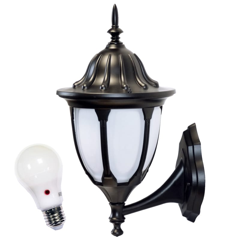 Amphora traditional wall lantern 9w led photocell bulb dusk to dawn for Exterior wall lights with photocell