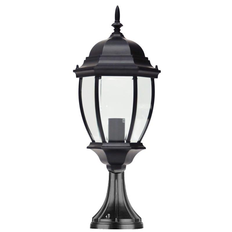 Warwick Pedestal Lantern Light Black: Traditional Pedestal Lantern