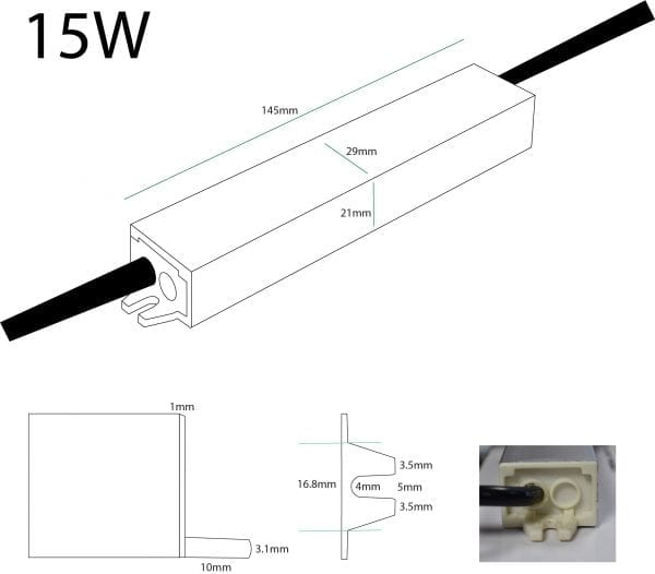 15W 24V LED Driver Dimensions