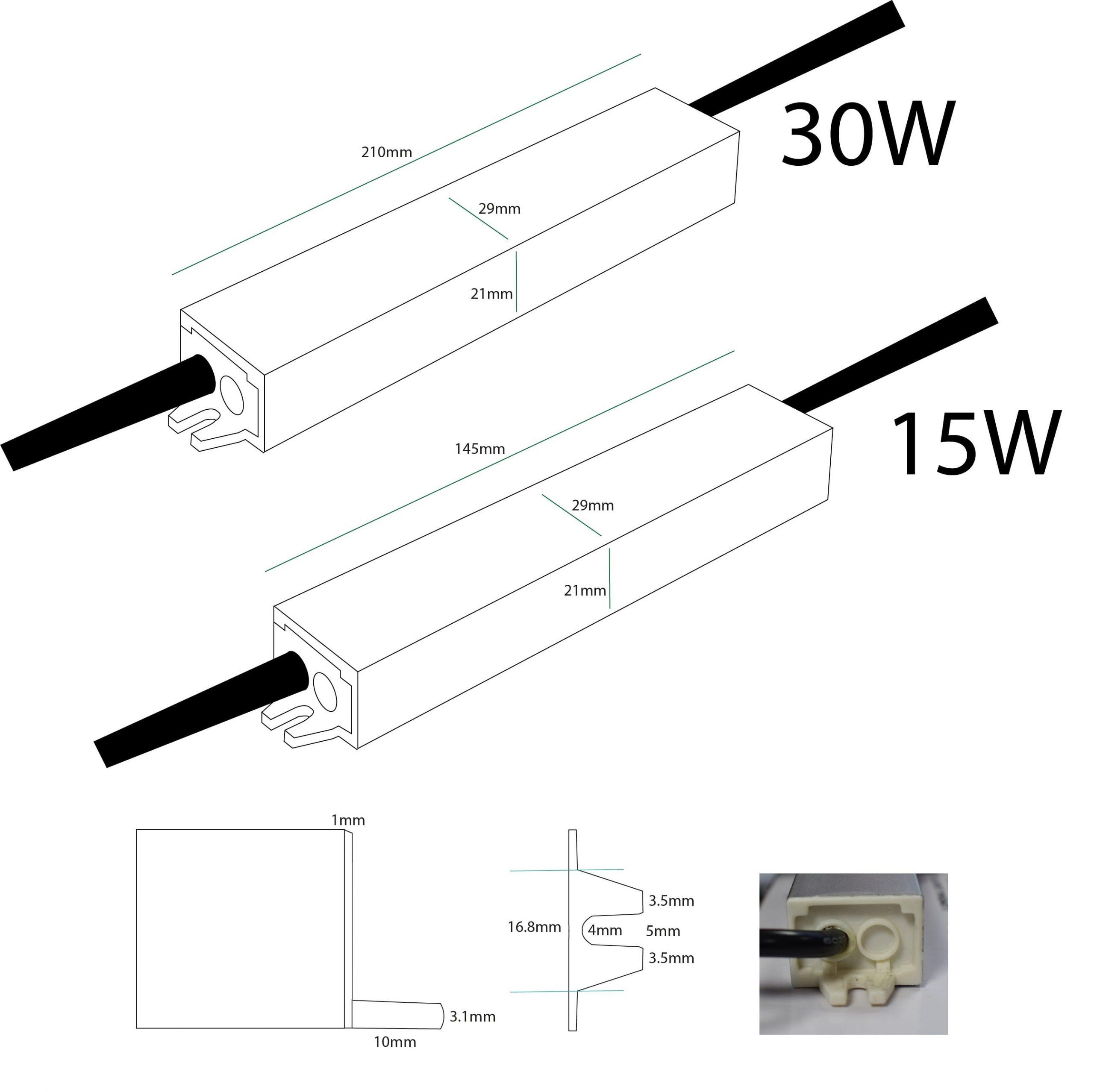 15W & 30W 24V LED Driver Dimensions