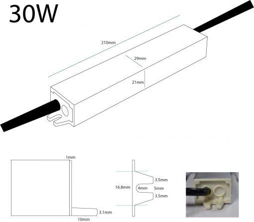 30W 24V LED Driver Dimensions
