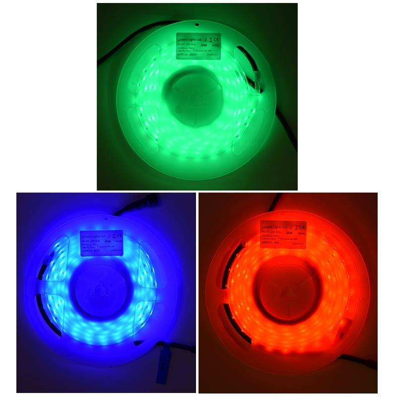 Lediflex coloured led strip lights kit red green or blue 24v dc 24v coloured led strip lights mozeypictures Choice Image