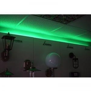green strip light showroom - lediflex