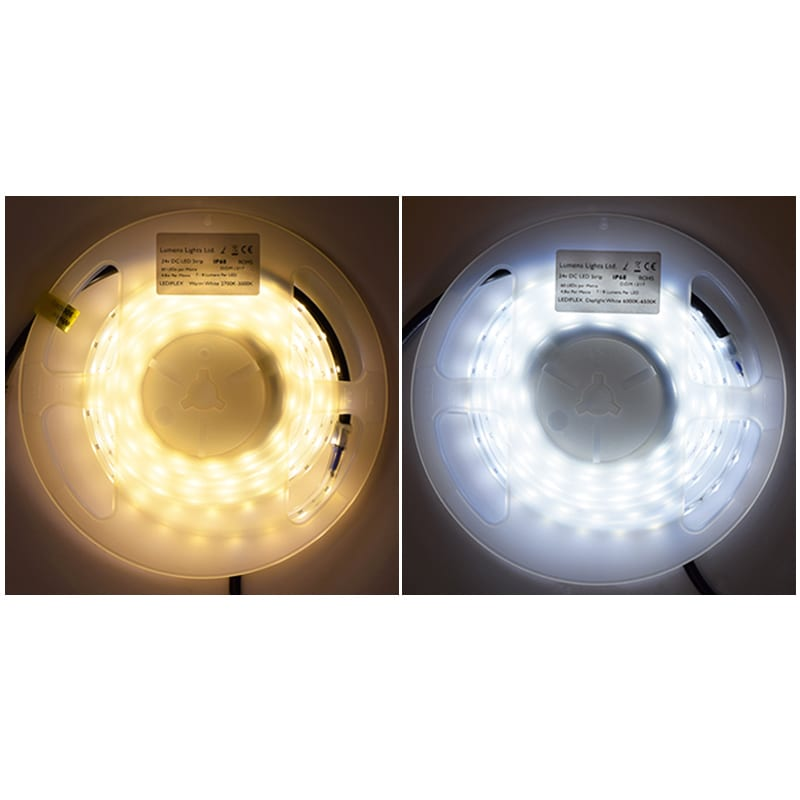 Lediflex led strip lights warm white or daylight white 24v dc ip68 led strip lights white aloadofball Image collections